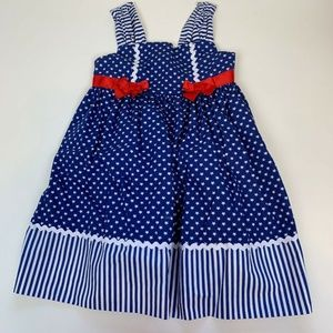 Maggie & Zoe Girls Dress Red White Blue USA Stars